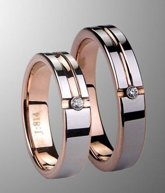 Couples Rose Gold Tungsten Wedding Band Set With CZ