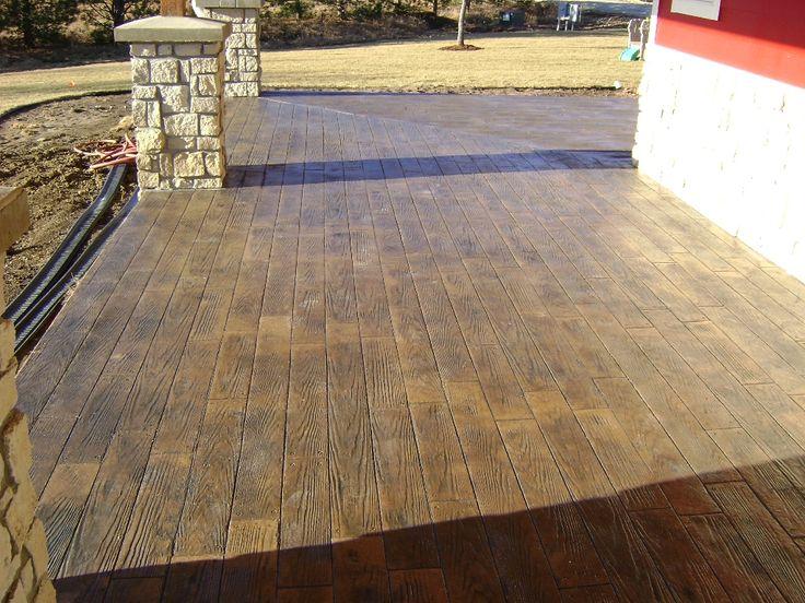 Wood grain stamped concrete driveway sidewalks floors for Hardwood floor concrete stamp