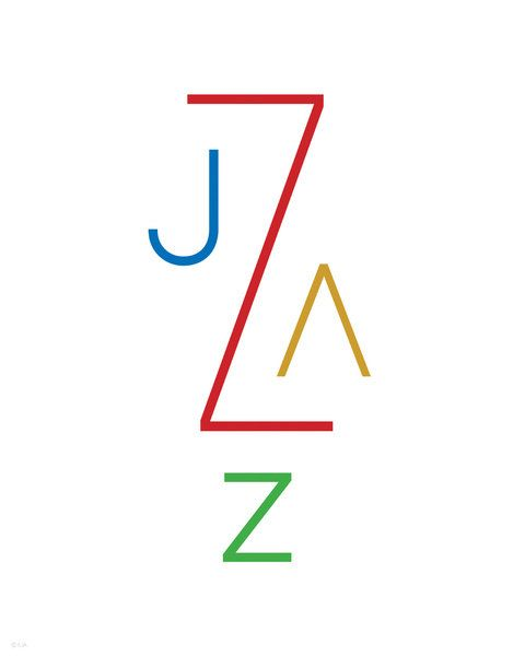 Rainbow Jazz Music Modern Art Typography Print by Inspireuart, $20.00