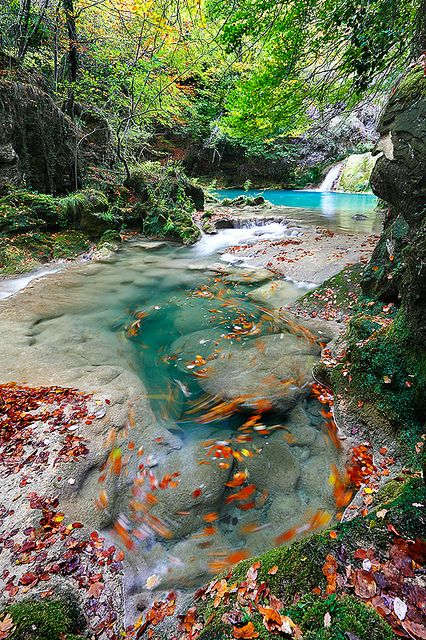 Beautiful Urederra River in Basque Country, Spain