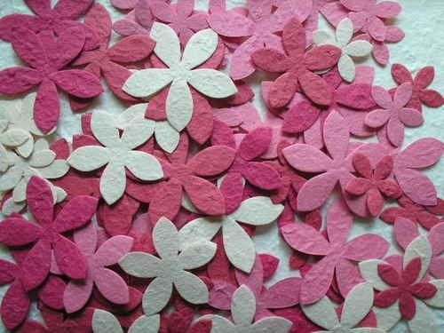 100 diecut STAR FLOWER mulberry SCRAPBOOK topper DIFFERENT COLOUR MIXES U CHOOSE