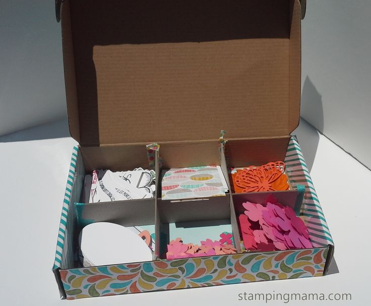 How to make your own Paper Scrap Storage..out of Stampin' UP 's Paper Pumpkin Box, and Chipboard...Totally DIY Project and easy to do Decorate it to brighten up your room. Plus The more boxes you make, the easier they are to stack upon one another. Repin to Save For more details please visit http://www.stampingmama.com/2016/05/24/diy-paper-scrap-storage-paper-pumpkin/