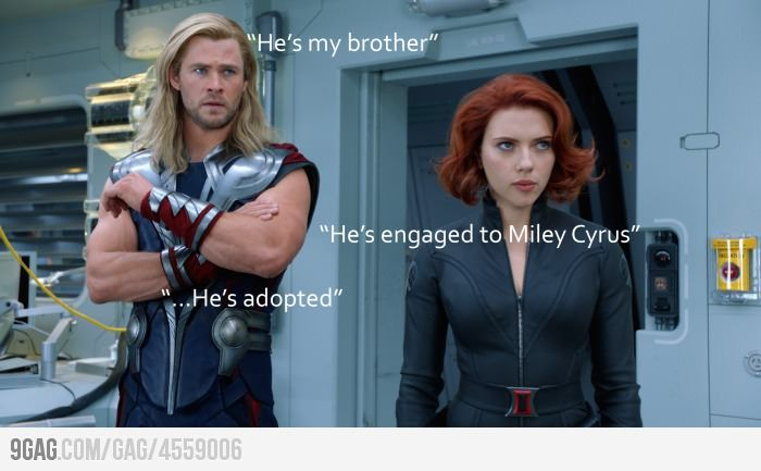 Good call.Miley Cyrus, Chris Hemsworth, Avengers Humor, Liam Hemsworth, Too Funny, So True, So Funny, True Stories, The Avengers