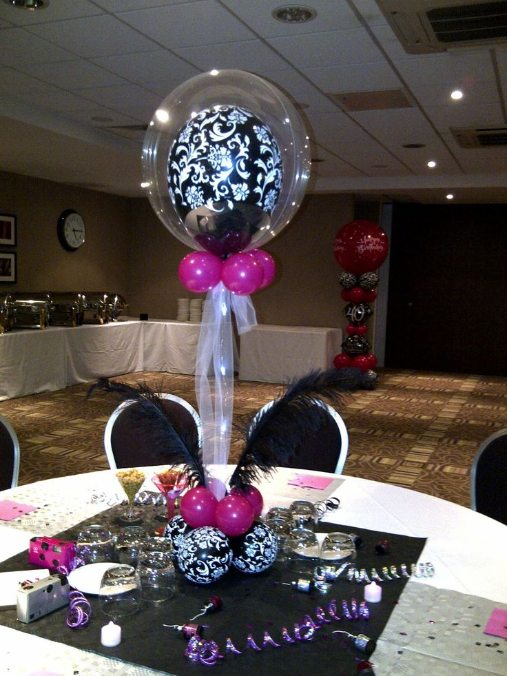 Pink And Black Centerpieces Ideas Balloon Decorators Wild Berry 40th Birthday Centerpiecesballoon