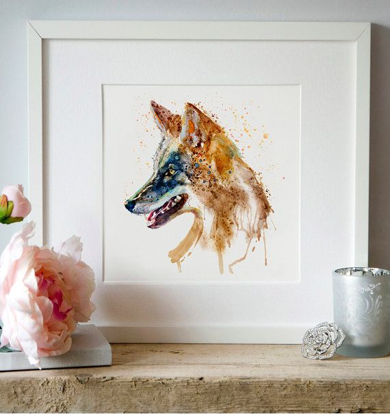 Coyote Head Watercolor painting Wall art Wildlife by Artsyndrome