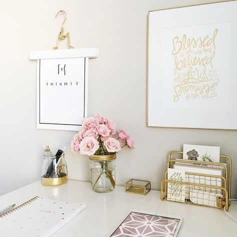 Office chic, pink, gold, gallery wall, flowers, notebooks