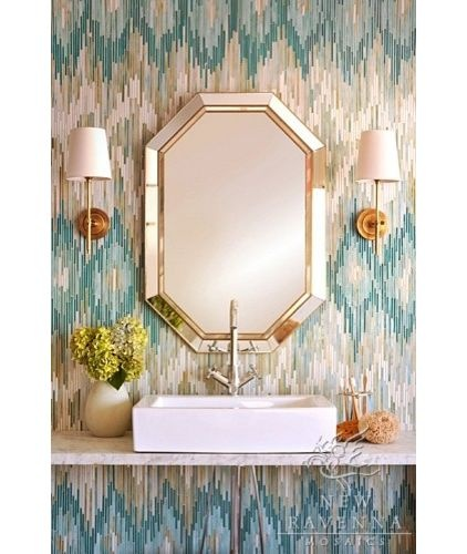 love the wallpaper! for powder room : eclectic bathroom by Filmore Clark Bargello (embrodery stitch)