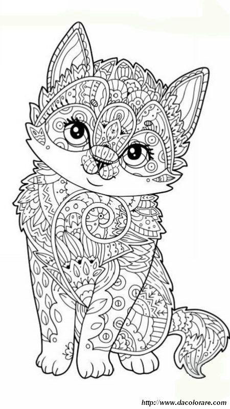 Immagine Gattino Da Colorare Per Gli Adulti Pirografia Pinterest