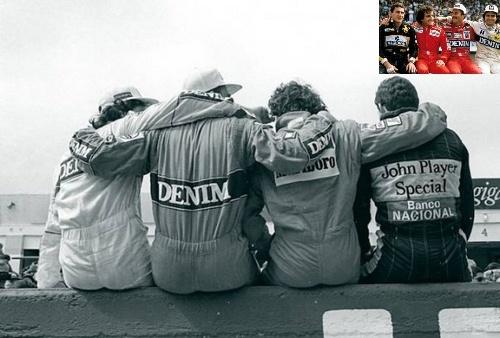 Nelson Piquet, Nigel Mansell, Alain Prost and Ayrton Senna, Estoril 1986 Detalhe no Piquet aplicando um 'cotonete molhado' no Prost :P
