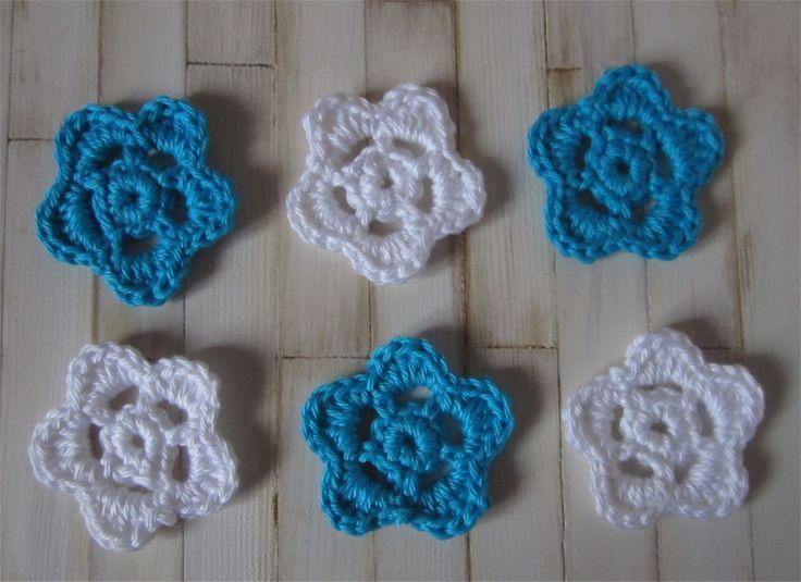 Lot de 6 appliques fleurs blanches et turquoises au crochet : Autres pièces pour créations par atelier-crochet