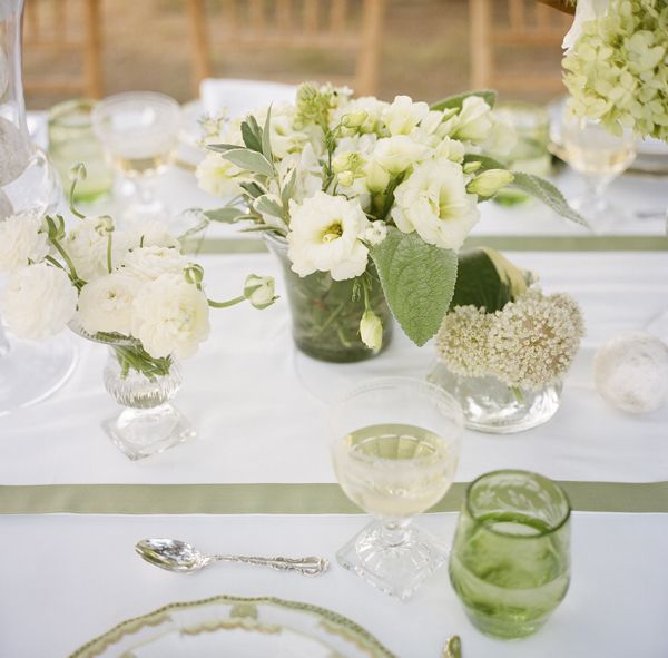 Southern weddings - green and white centerpieces