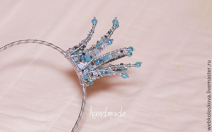 """Купить Корона из бисера """"Голубая лагуна"""" - диадема, обруч, ободок, корона из бисера, корона на голову"""