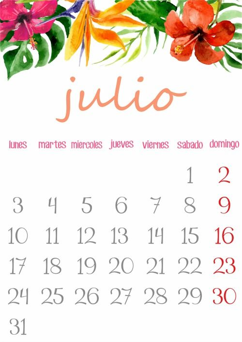 Imprimible: Calendario Julio 2017