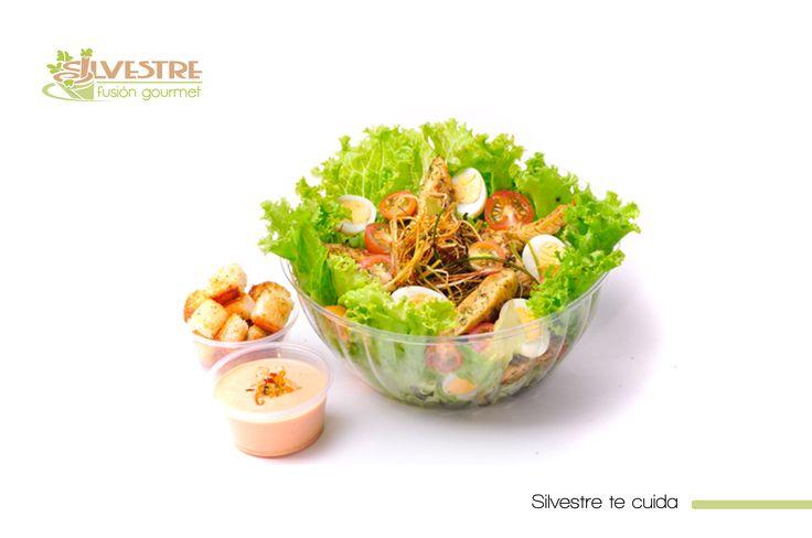 ¡Disfruta tu #alimentación!  Silvestre tiene para hoy un combo delicioso:  #Ensalada #Macarena, chips de plátano y jugo por 16.900  Disfruta una combinación única de #pollo a la provenzal,mezcla de lechugas, tomates cherry, huevos de codorniz, nido de puerro y crotones de campo.   -Aderezo Rosada Silvestre, #SinConservantes y baja en grasa.  Solo Domicilio: 2553056 // 3003388368