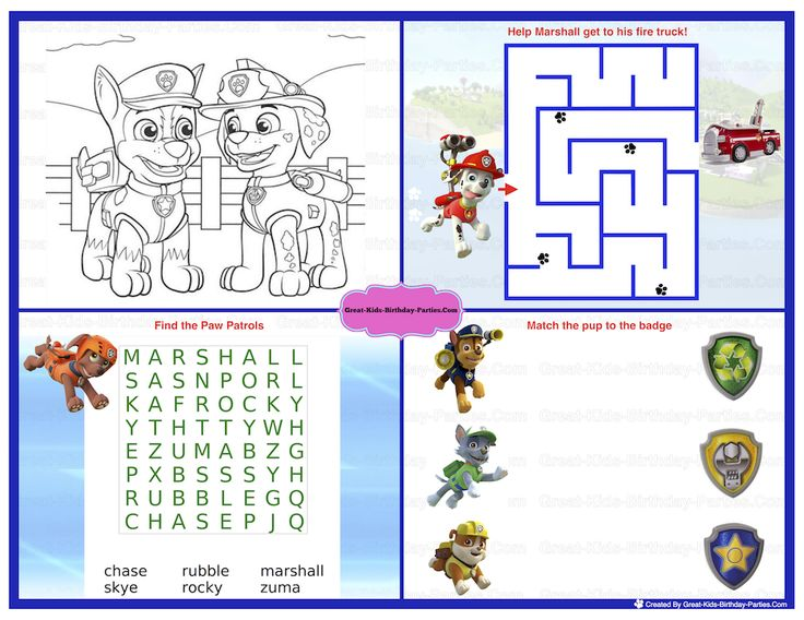 Paw Patrol Birthday - Fun activity placemat. Great for birthdays, entertaining children and play dates.