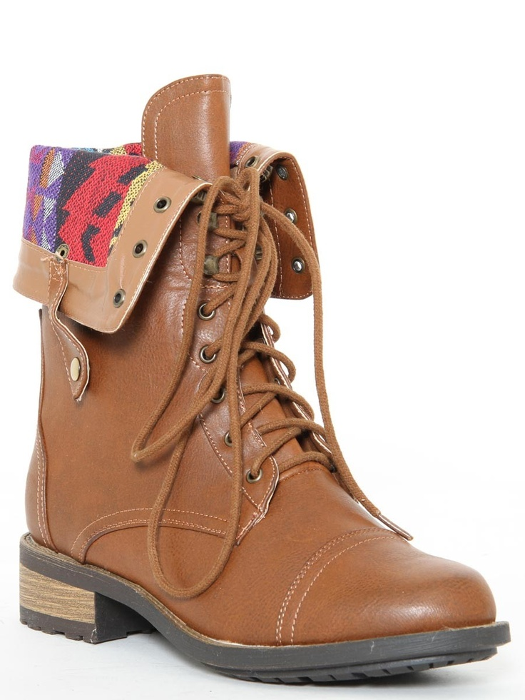 Faux Leather Foldover Combat Boot in Cognac #boots