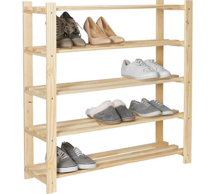 Buy HOME 5 Shelf Shoe Storage Rack - Solid Unfinished Pine at Argos.co.uk, visit Argos.co.uk to shop online for Hallway storage, Hallway furniture, Home and garden