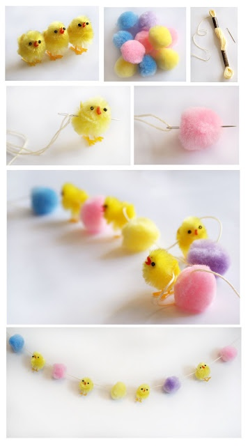 Pom pom chick garland for Easter?
