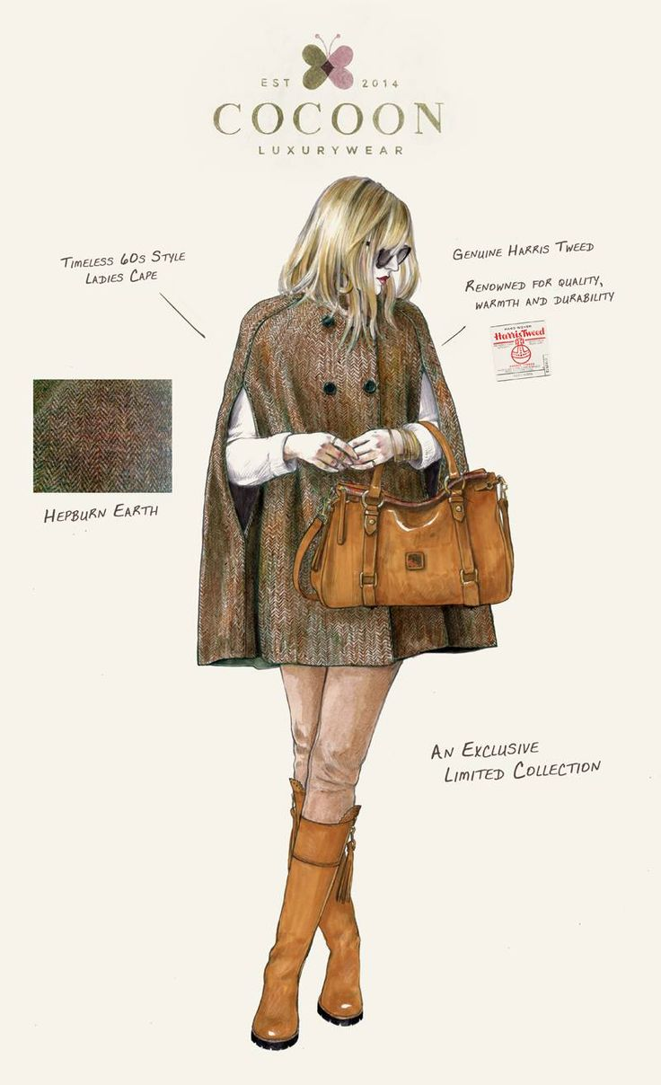 Harris Tweed Ladies Cape.  An exclusive 100% Harris Tweed, 60's style ladies cape. Available in 4 distinct patterns & fully lined in a high quality champagne lining.