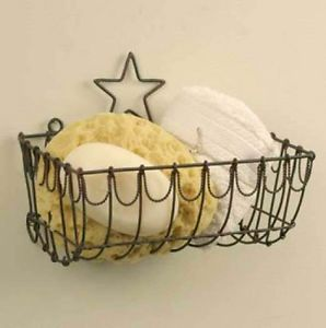 Colonial Tin Works Primitive Country Star Wire Basket Wall Mount | eBay
