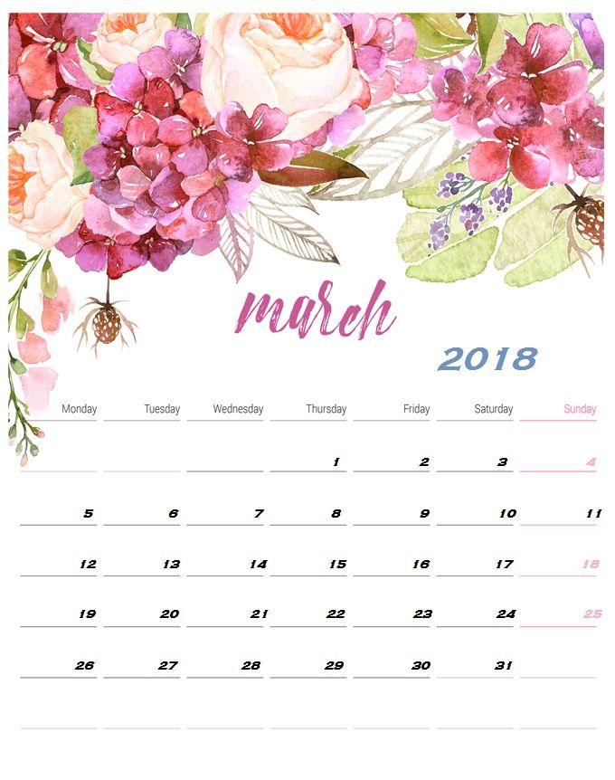 desk calendar march 2018