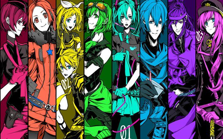Download imagens Vocaloid, Hatsune Miku, Gumi Kagamine, Len Kagamine, Meiko, Camui Gackpo, Kaito, Megurine Luka, personagens de anime, arte