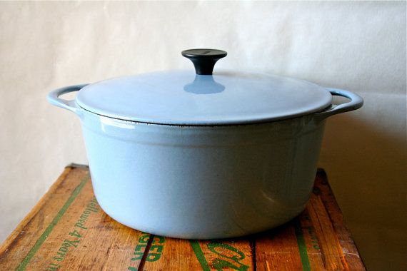 vintage cousances dutch oven pan lecreuset le creuset france 1950s blue sale was 100 search. Black Bedroom Furniture Sets. Home Design Ideas
