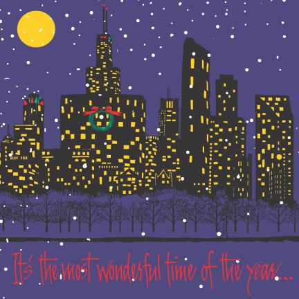 """Monroe Harbor skyline  """"It's the most wonderful time of the year!"""" with music & lyrics inside"""