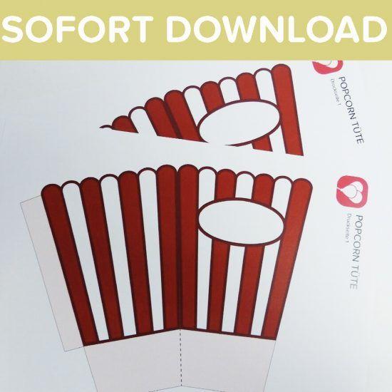 Popcorn Tute Fur Snacks Beim Heimkino Balloonas Com Gutschein Basteln Kino Kinogutschein Basteln Popcorntute Basteln