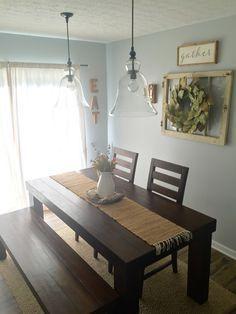 Dining Room Decor! Farm house table/ pottery barn pendants/ magnolia wreath/ farmhouse decor