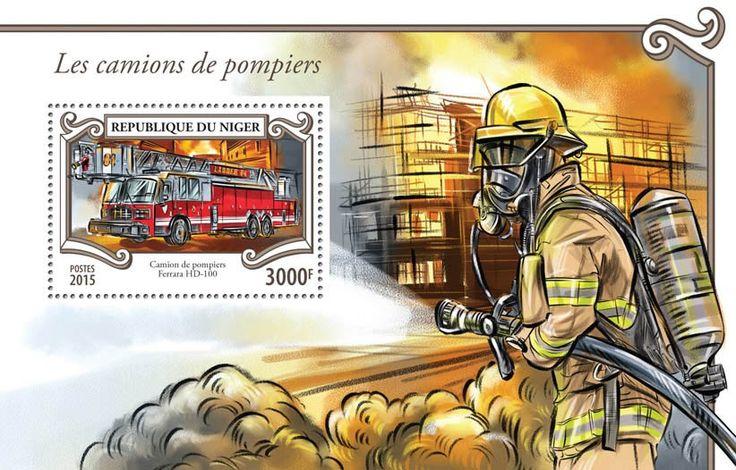 Post stamp Niger NIG 15312 bFire engines (Fire truck Ferrara HD-100)