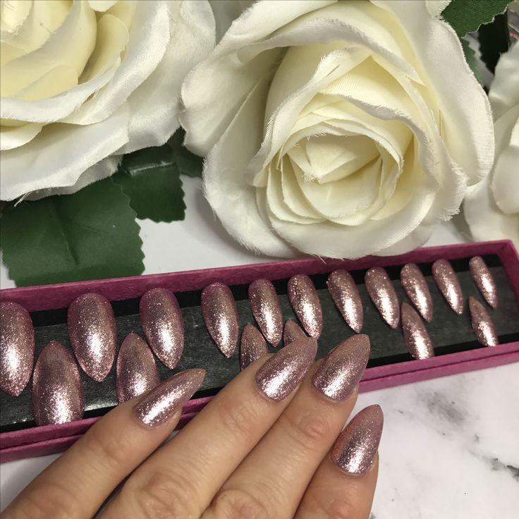 Stiletto Pink Glitter gel nails for sale www.nailituk.co.uk