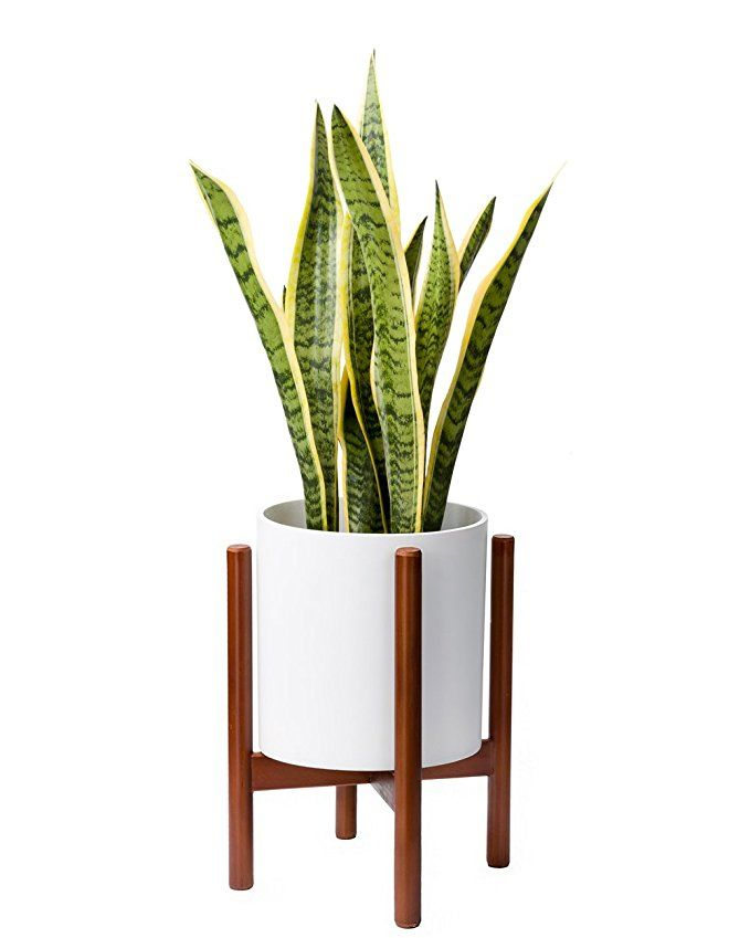Mkono Plant Stand Mid Century Wood Flower Pot Holder Display Potted Rack Rustic Up To 10 Inch Planter Wooden Plant Stands Flower Pot Holder Plant Pot Holders