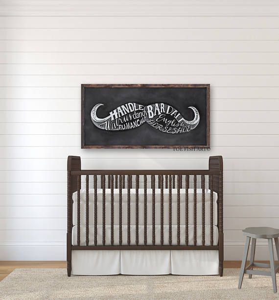 Nursery Sign | Mustache Sign | Types of Mustaches | Man Cave | Chalk Art Print Wood | Hand Lettered | Wall Decor Sign | Boys Room Decor #nurseryideas #boynursery #woodsigns #ad