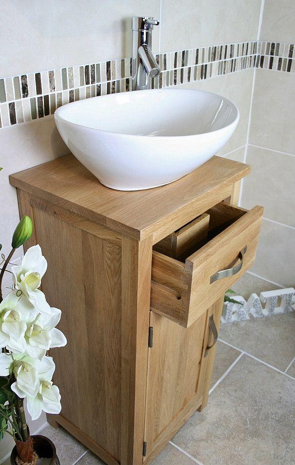 Cloakroom Bathroom Vanity Unit Oak Cabinet Small Modern inc Ceramic Basin 327