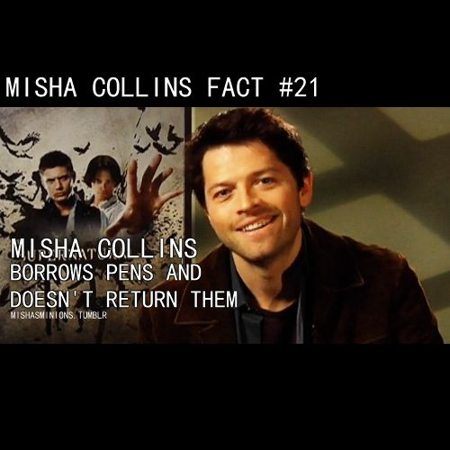 misha collins - I'll be sure to carry extras just in case...
