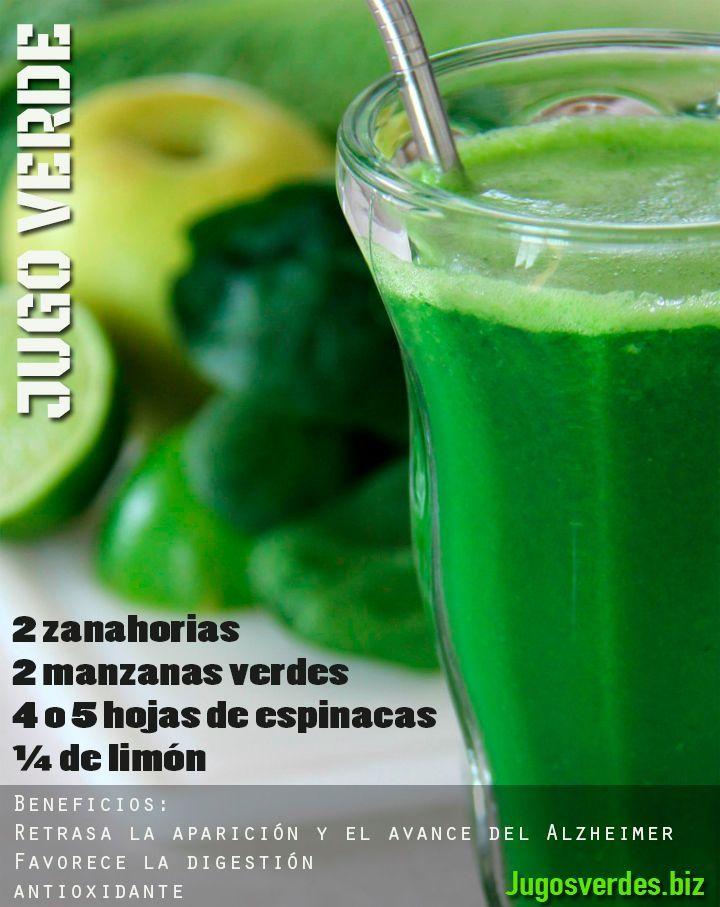 Jugo verde altamente antioxidante que nos puede ayudar a retrasar la aparición y el progreso de la enfermedad de Alzheimer. #alzheimer #jugos #jugoverde