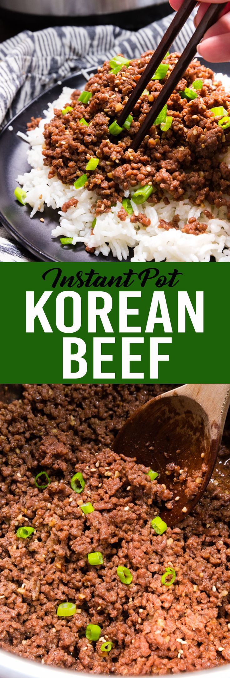 Easy to make sweet and spicy Korean Beef made in the instant pot pressure cooker #pressurecooker #instantpotrecipe #koreanbeef #beefdinner #easydinner