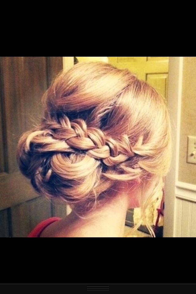 One of the bridesmaids hair up do with a braid.. Calling it! In love!