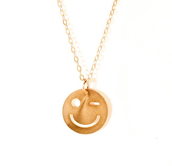 Smiley Necklace Gold Filled Necklace Smeily Icon by BeepStudio