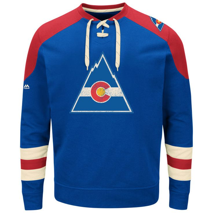 CO Rockies Majestic Vintage Centre Lace-Up Sweatshirt - Royal