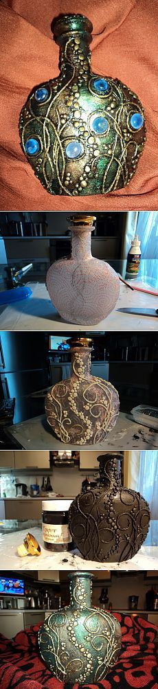 (1) Tipo - arte Pape.  Botella.  |  DIY!
