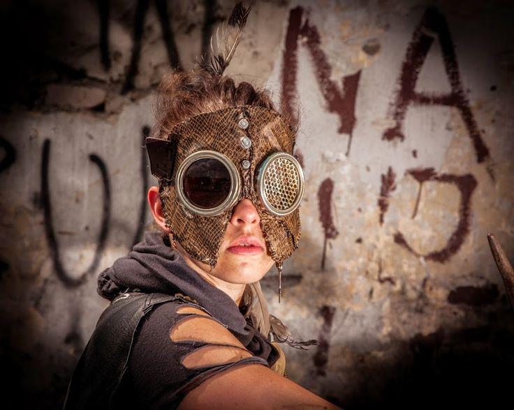 Mask girl on oldtown festival postapocalypse postapocalyptic