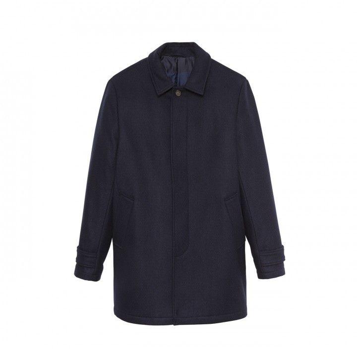 Manteau bleu marine Eden Park en drap de laine texturé