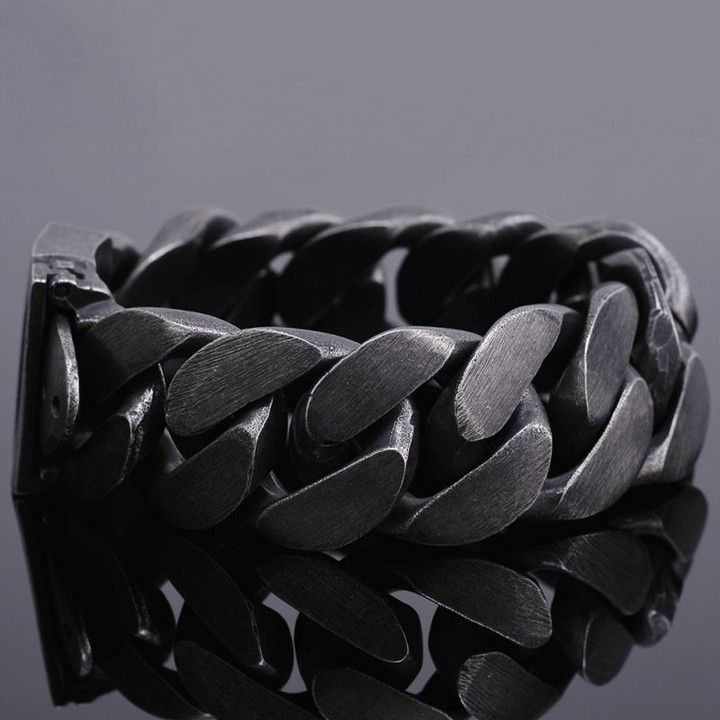 24mm Vintage Black Stainless Steel Men S Chain Type Bracelet Black Bracelet Chain In 2020 Black Stainless Steel Bracelet Black Stainless Steel Mens Bracelet Silver