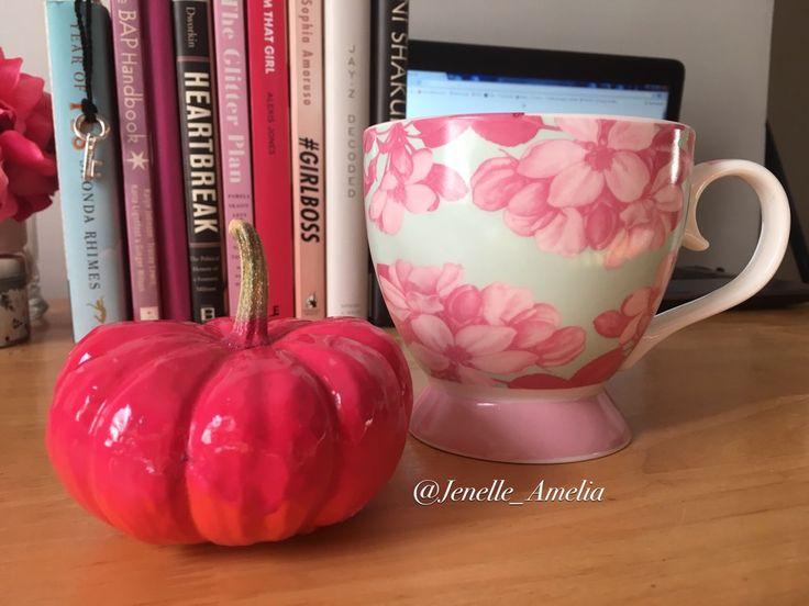 Pink painted pumpkin and floral coffee mug!