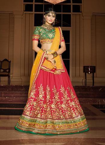 Pink Shahi Silk Wedding Lehenga Choli ,Indian Dresses - 1