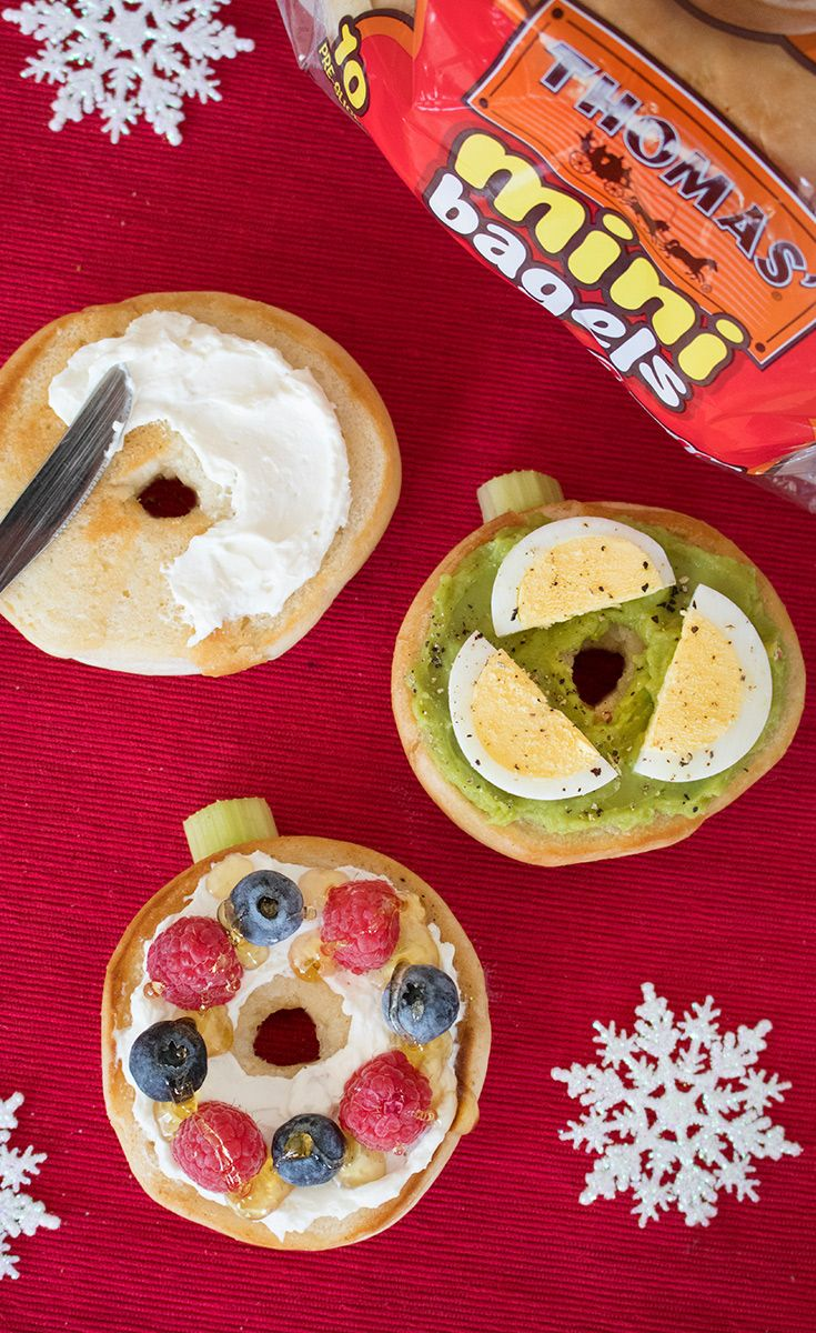Mini Bagel Ornaments: Ornament your holiday table with a little festive cheer! Top Thomas' Mini Bagels with your favorite fixin's. From a simple smear of cream cheese to guacamole and a hard-boiled egg to cream cheese, berries and honey. Add a thick slice of celery to the tops and they're instantly transformed into ornaments!