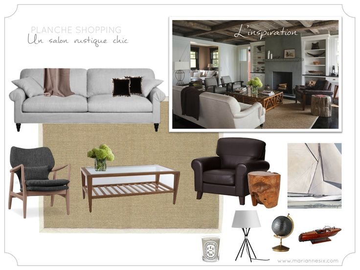 Marianne Six: Planche shopping : un salon rustique chic - Chic fall inspired living-room shopping board.