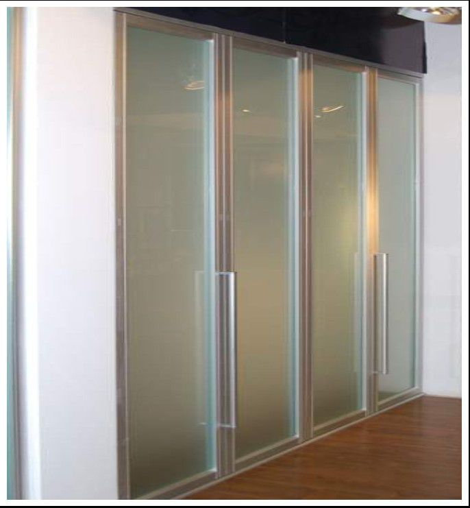 China Aluminum Frame Frosted Glass Bi Fold Wardrobe Doors